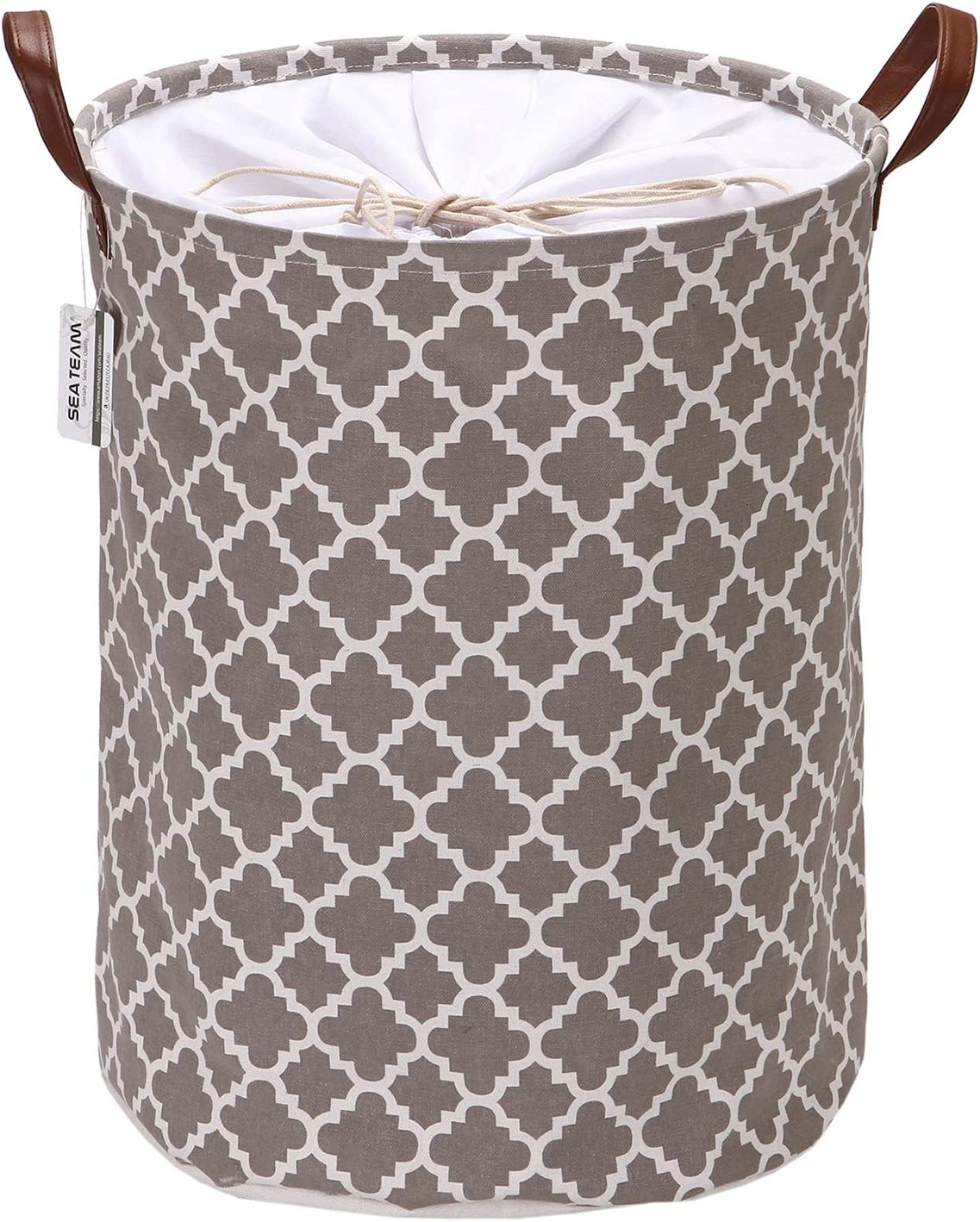 Sea Team Moroccan Lattice Pattern Laundry Hamper Canvas Fabric Laundry Basket Collapsible Storage Bin with PU Leather Handles and Drawstring Closure, 17.7 by 13.8 inches, Waterproof Inner, Grey