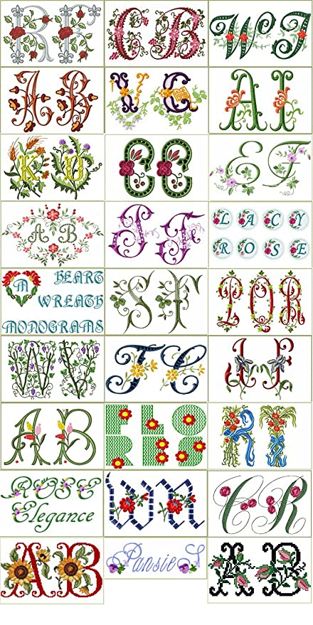 Amazon com: ABC Machine Embroidery Designs Collection -30 Floral