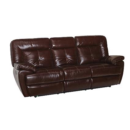 Coja By Sofa4life Azusa Leather Recliner Sofa, Brown