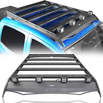 Amazon Com Hooke Road Tacoma Top Roof Rack Luggage Cargo Carrier W 4x18w Led Lights For 2nd 3rd Gen Tacoma 2005 2020 4 Door Double Cab Pickup Truck Automotive
