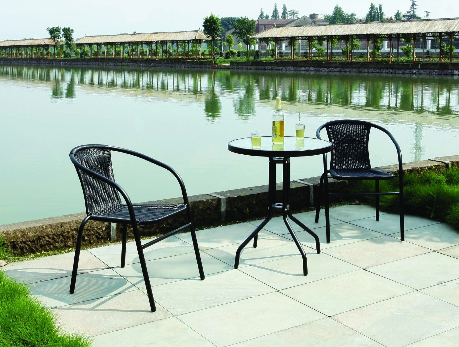 Garden Patio All Weather Black Wicker 3 Piece Bistro Set Patio Outdoor  Furniture: Amazon.co.uk: Garden U0026 Outdoors