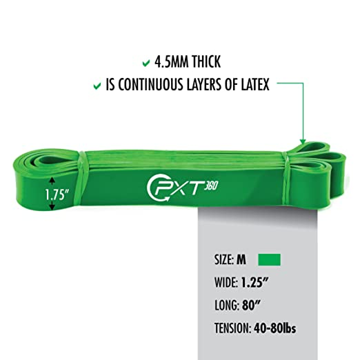 40-80 Pounds Tension, PXT360 Pull Up Bar Assist Band By Green Resistance Strap