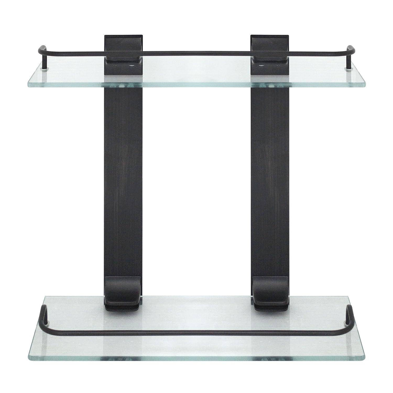 MODONA Double Glass Wall Shelf with Rail – Polished Chrome – 5 Year Warrantee Modona Bathroom Company D-GWS-PC