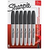 Sharpie Super Permanent Marker, Fine Point, Black, 6 Count
