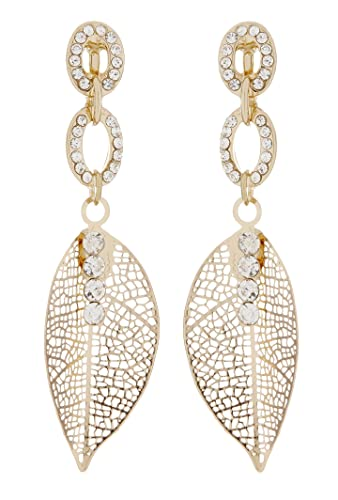 Clip On Earrings - Gold Plated Drop With Clear Crystals - Banba G by Bello London sSfMDo