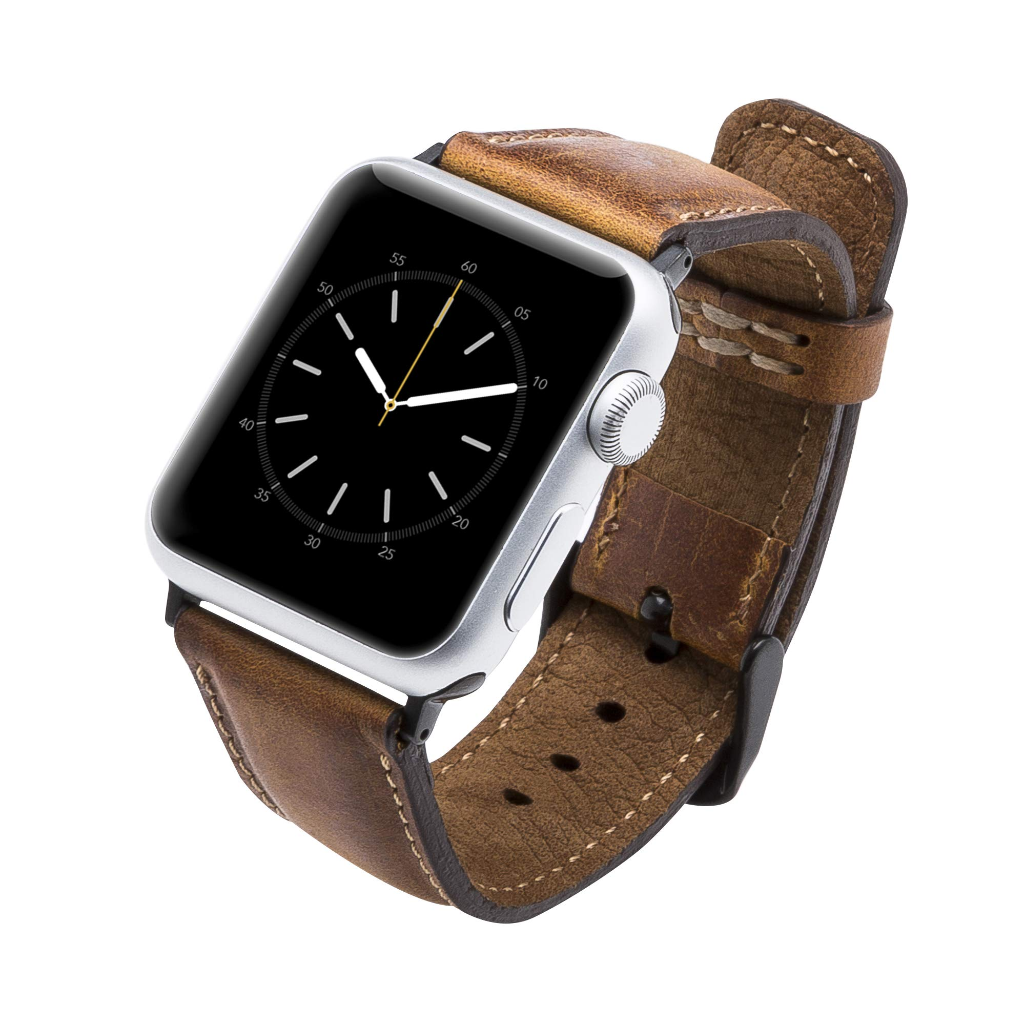 Tuscany Handmade Leather Watch Band Strap Compatible with Apple Watch 44/42/40/38 mm in All Series 1,2,3,4 with Stainless Steel Hardware (Antique Brown, 38-40mm with Black Connector&Clasp)