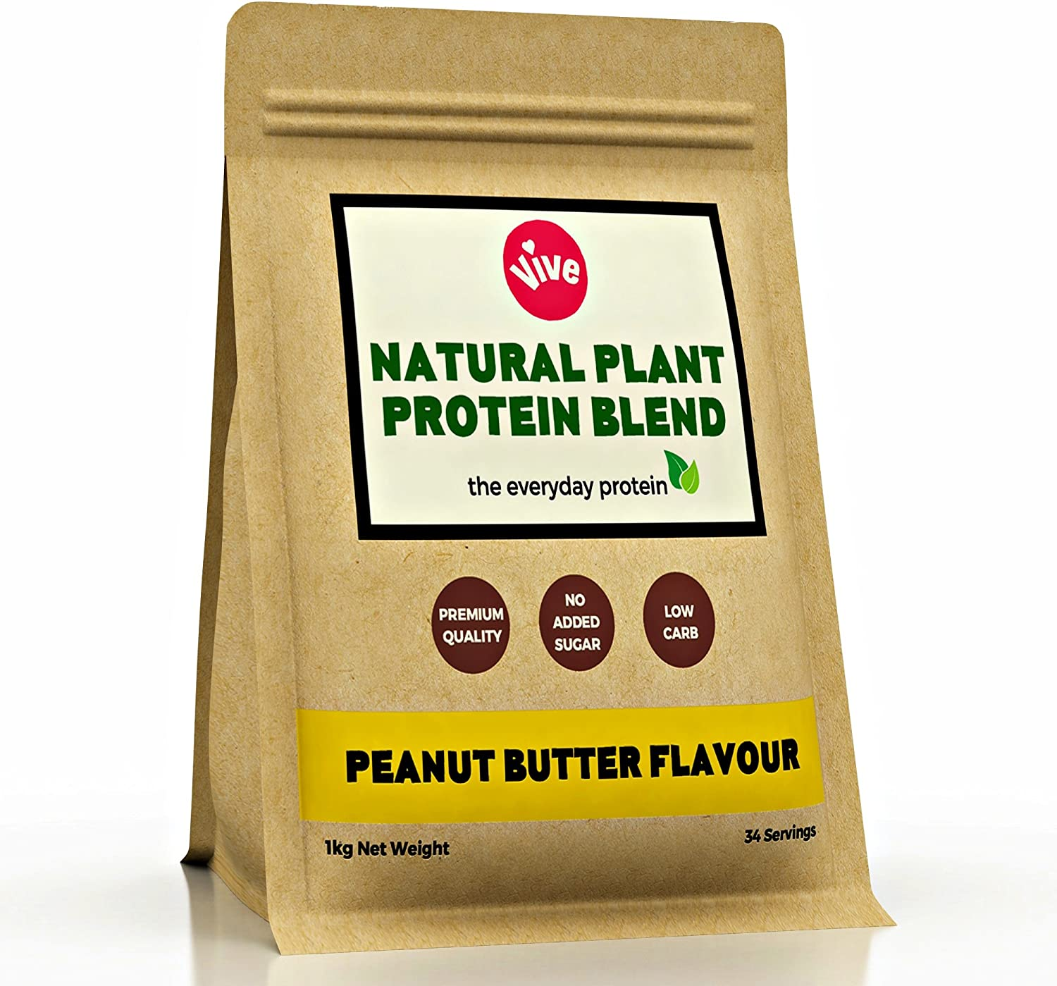 Vive Vegan Protein Powder, Peanut Butter Flavour | Sweetener-Free, Rice & Pea Protein (1kg)
