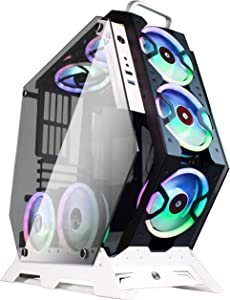 KEDIERS ATX Case Open Frame Panoramic Viewing Gaming Computer Case Pc Case Mid Tower Case with 2 Tempered Glass RGB Fans (7 RGB Fans, Black)