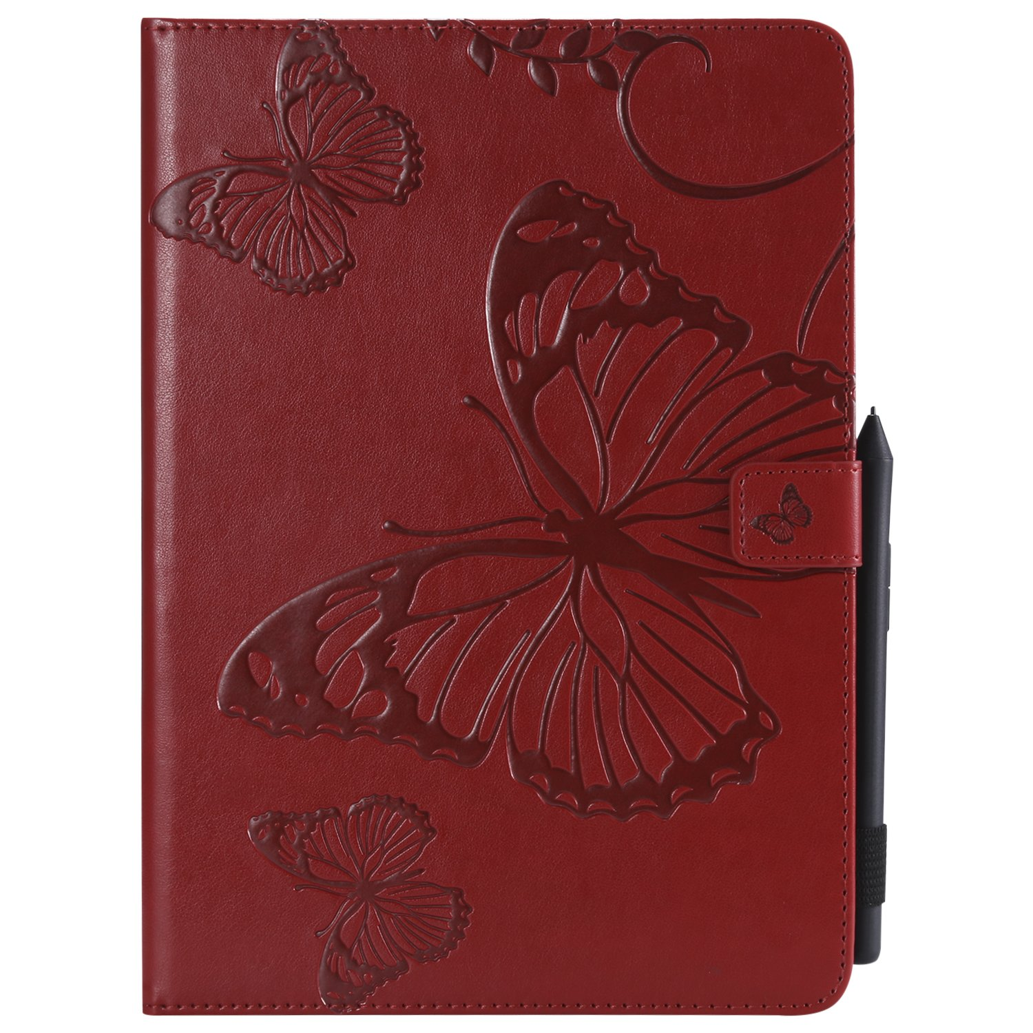 Bear Village iPad Pro 9.7 Inch Case, Butterfly Embossed Anti Scratch Shell with Adjust Stand, Smart Stand PU Leather Case for Apple iPad Pro 9.7 Inch, Red by Bear Village
