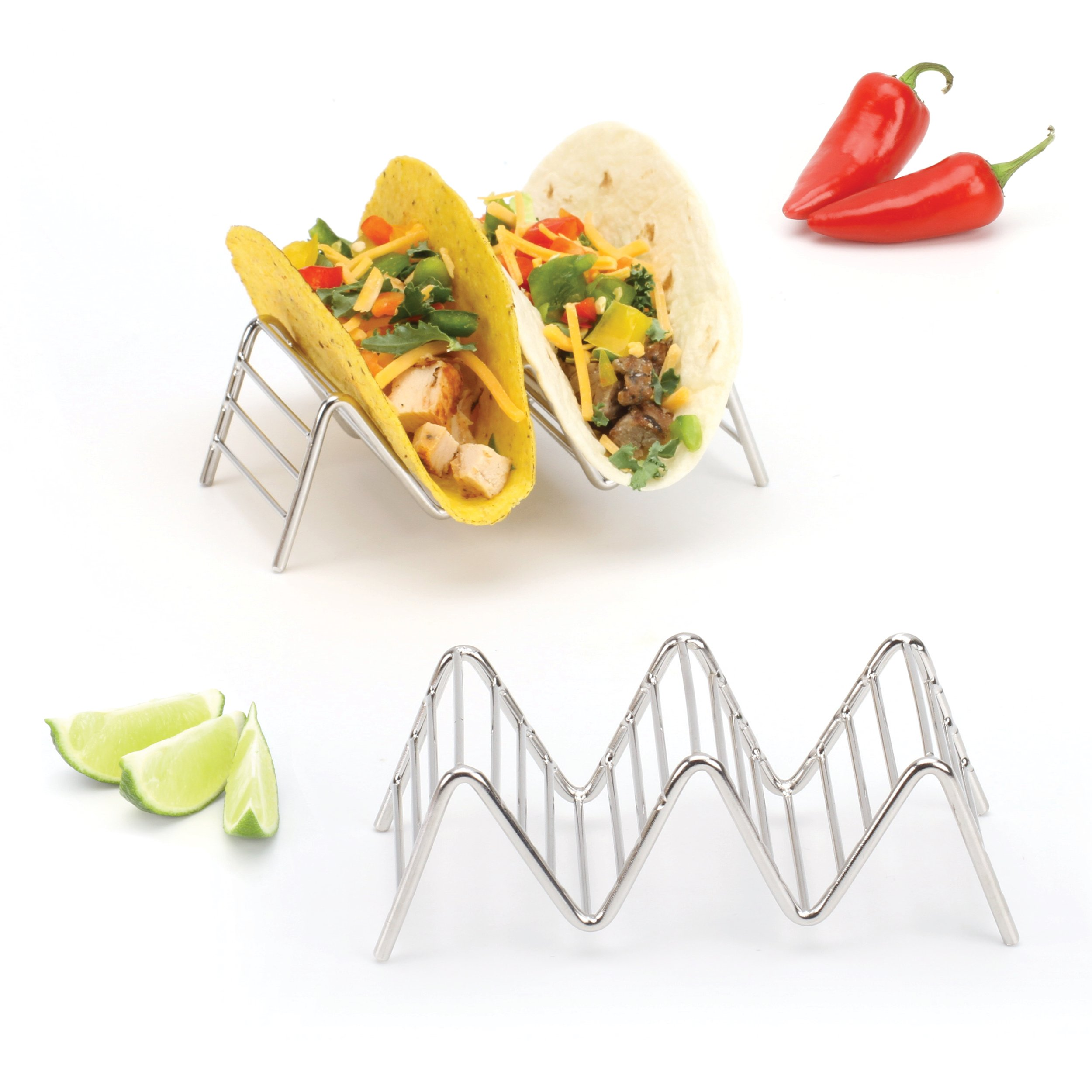 2 Lb. Depot Taco Shell Holder, Stainless Steel Taco Rack Hard Soft Taco's, 2 Pack (Holds 2 or 3)