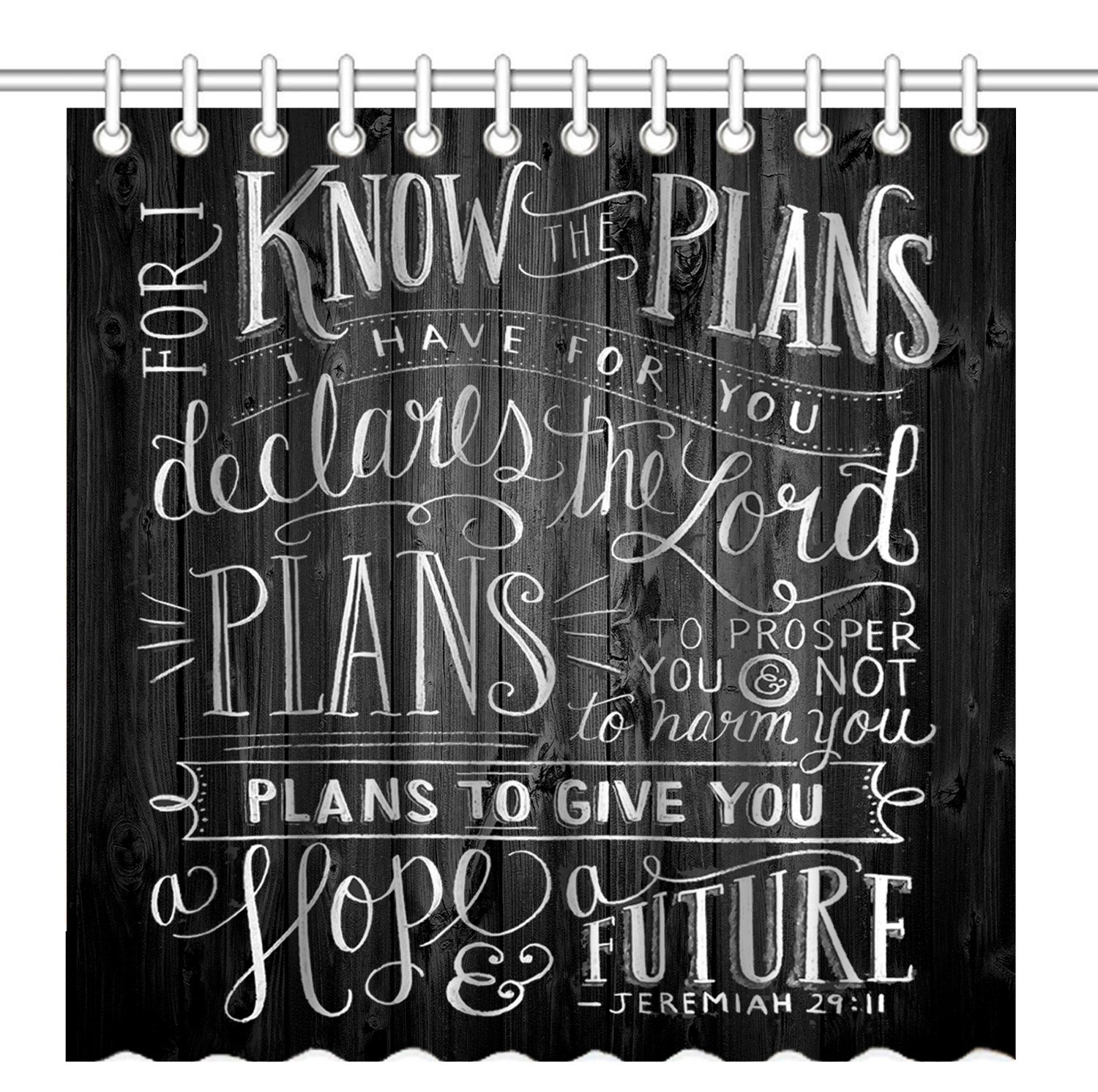 Wknoon 72 x 72 Inch Shower Curtain, Vintage Christian Inspirational Bible Verse Scripture Quotes on Deadwood, Waterproof Polyester Fabric Decorative Bath Curtains by Wknoon