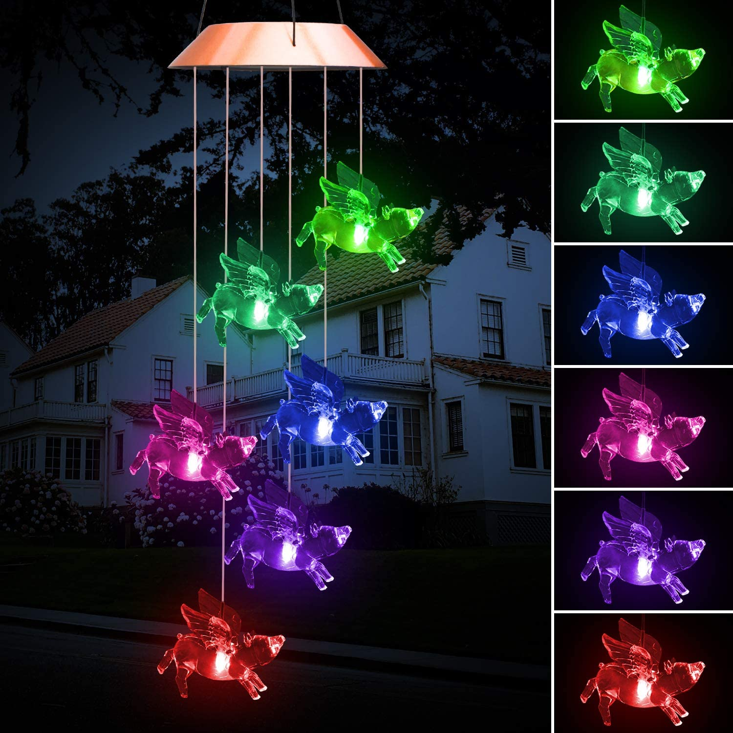 """LED Solar Wind Chime 25"""" Hummingbird Dragonfly Butterfly Fly Pig Angel Mobile Hanging Wind Chime for Home Garden Decoration Automatic Light Changing Color for Mother Girl (Flying Pigs)"""