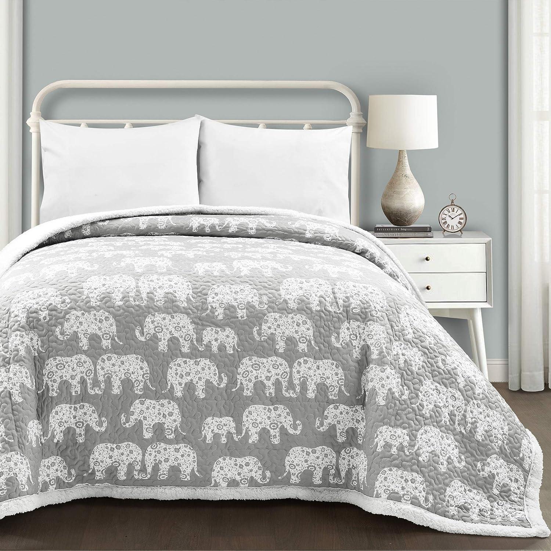 Lush Decor Elephant Parade Sherpa Blanket/Coverlet, Twin, Soft Gray