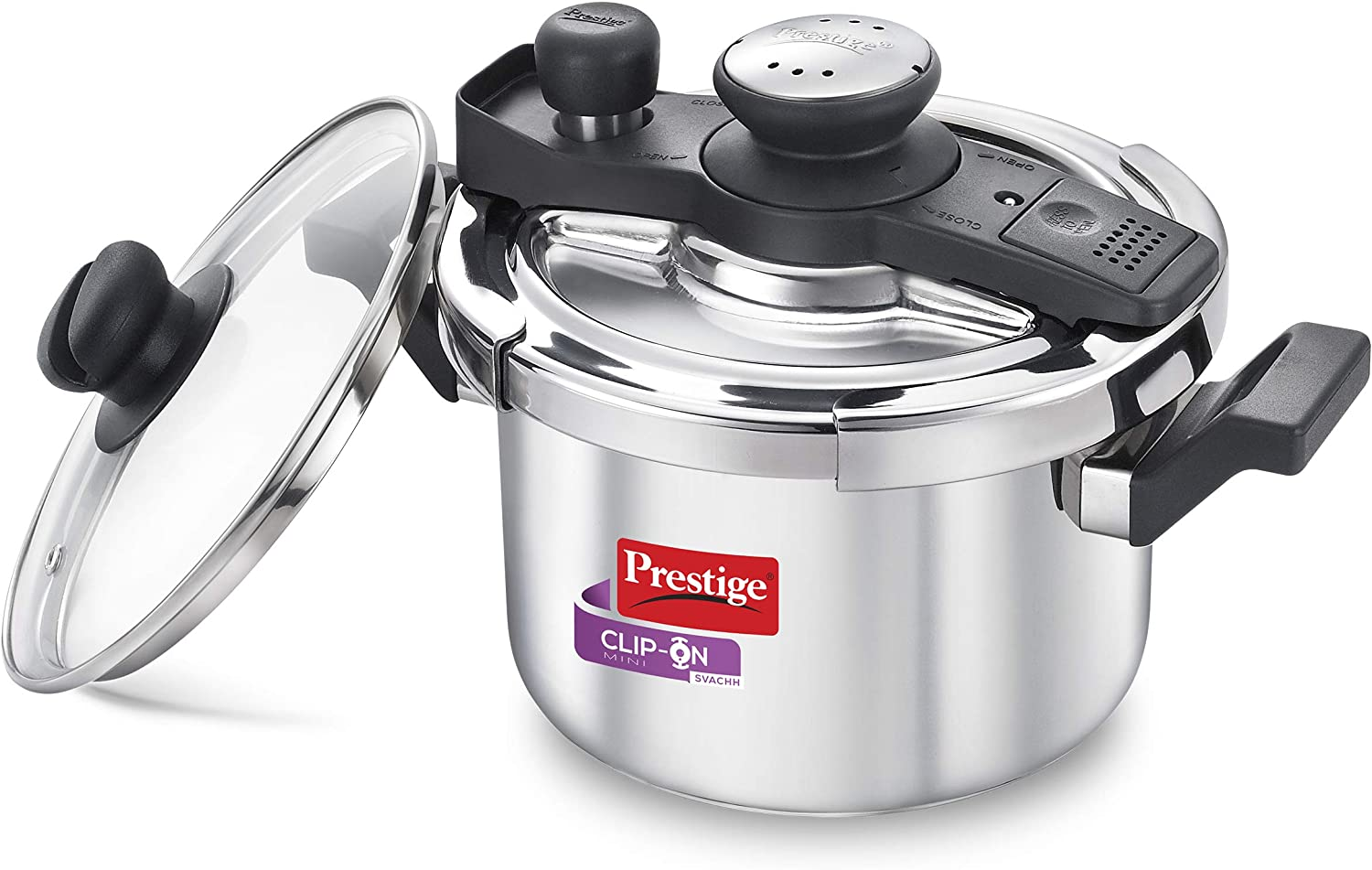 Prestige Svachh Clip-on Mini Stainless Steel 3 Litre Pressure Cooker