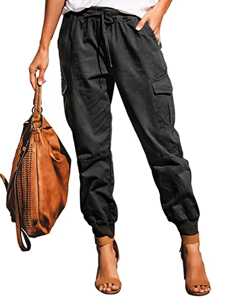 purchase original hoard as a rare commodity hot-selling Ohvera Women's Solid High Waist Cargo Pants Joggers Trousers with  Drawstring Tie Pockets