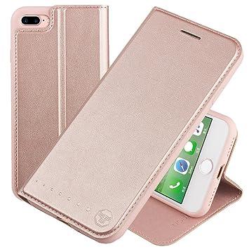 33d1eabdfa5 Nouske Funda tipo cartera para iPhone 7 Plus iPhone 8 Plus de 5,5 pulgadas  de Apple, Oro rosa: Amazon.es: Electrónica