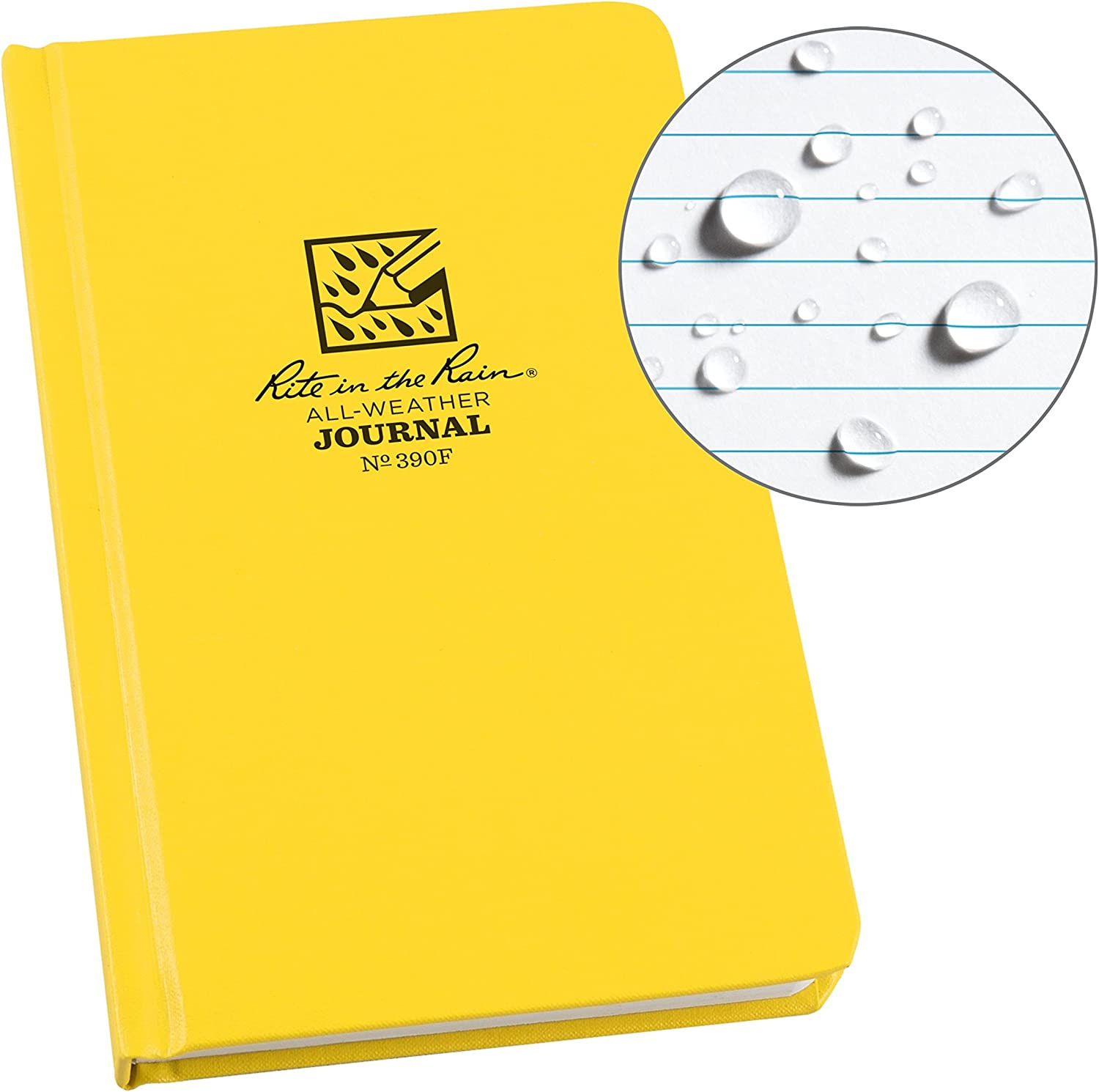 """Rite In The Rain Weatherproof Hard Cover Notebook, 4.75"""" x 7.5""""x 0.625, Yellow Cover, Journal Pattern (No. 390F)"""