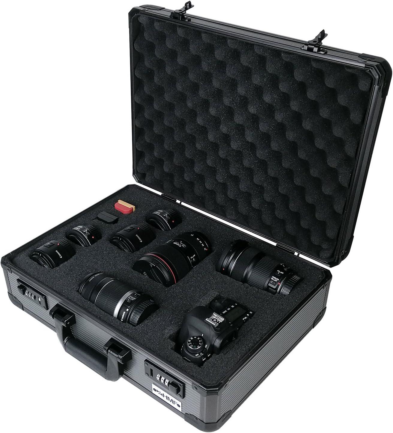 HMF 14402-02 Maletín para cámaras de Fotos y Accesorios, Maleta para Armas, Espuma Personalizable precortada, Aluminio, 46 x 16,5 x 36,5 cm