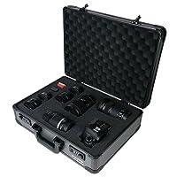 HMF 14402-02 Aluminium Camera Case, Pistol Case, Cubed Foam, Combination Lock, 46 x 16,5 x 36,5 cm