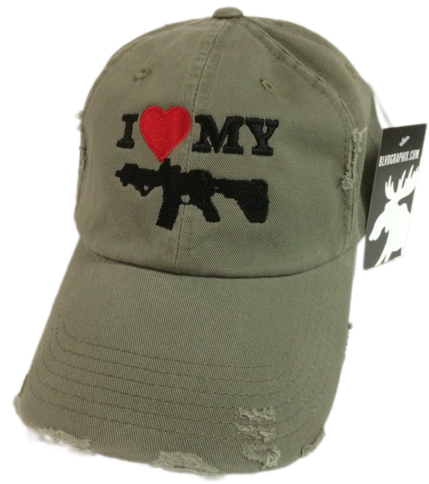 I Love My AR-15 pistol Hat / cap Olive Green ar15 Distressed