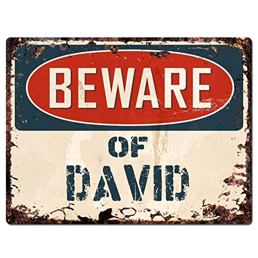 JUNGK Beware of David -Cartel Chapa Placa Metal Pintura De ...