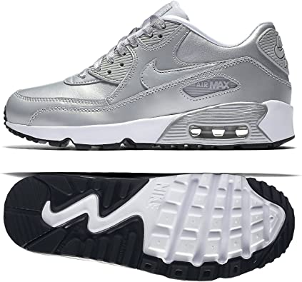 Nike Air Max 90 SE Leather Silver Pack Sz. 5.5Y