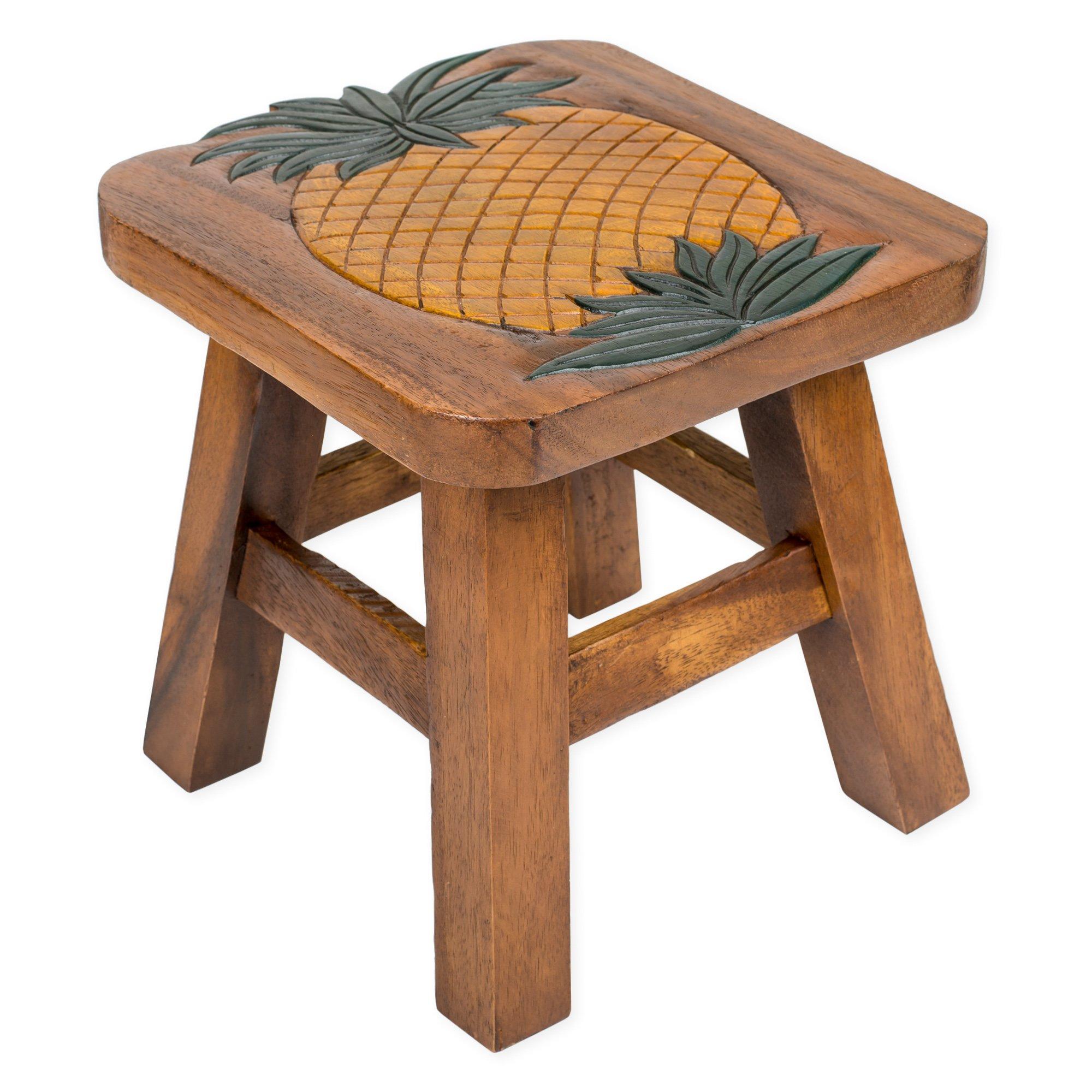 Pineapple Design Hand Carved Acacia Hardwood Decorative Short Stool