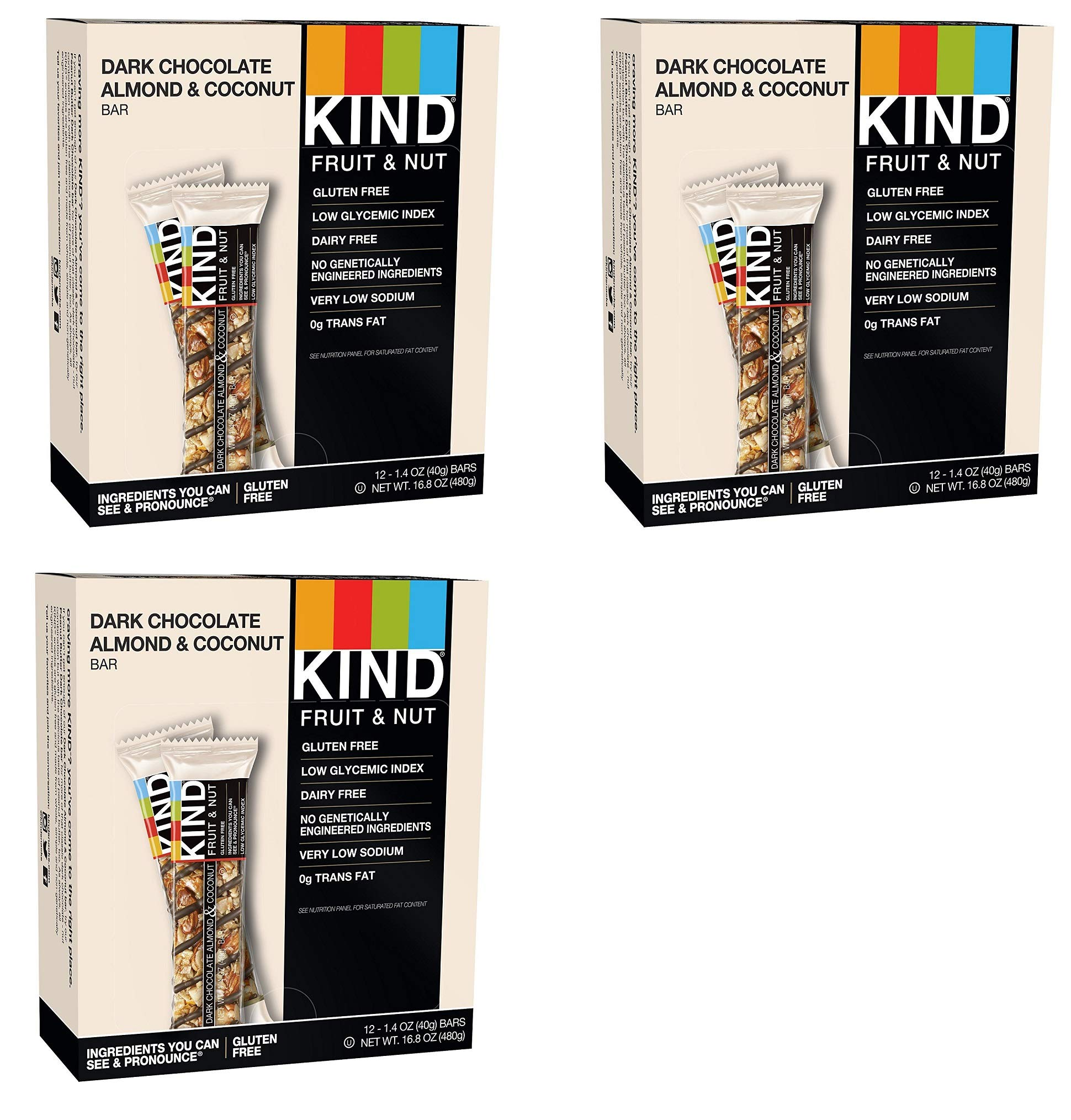 KIND Bars, Dark Chocolate Almond Coconut, Gluten Free, 1.4 Ounce Bars, 36 Bars KIND-wT