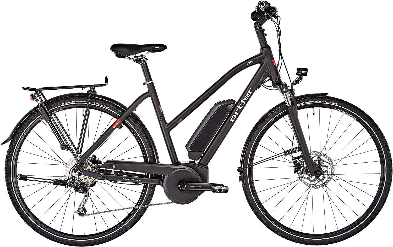 ORTLER Bicicleta de Trekking eléctrica para Mujer Trapez 2019 Bozen, Color Negro Mate