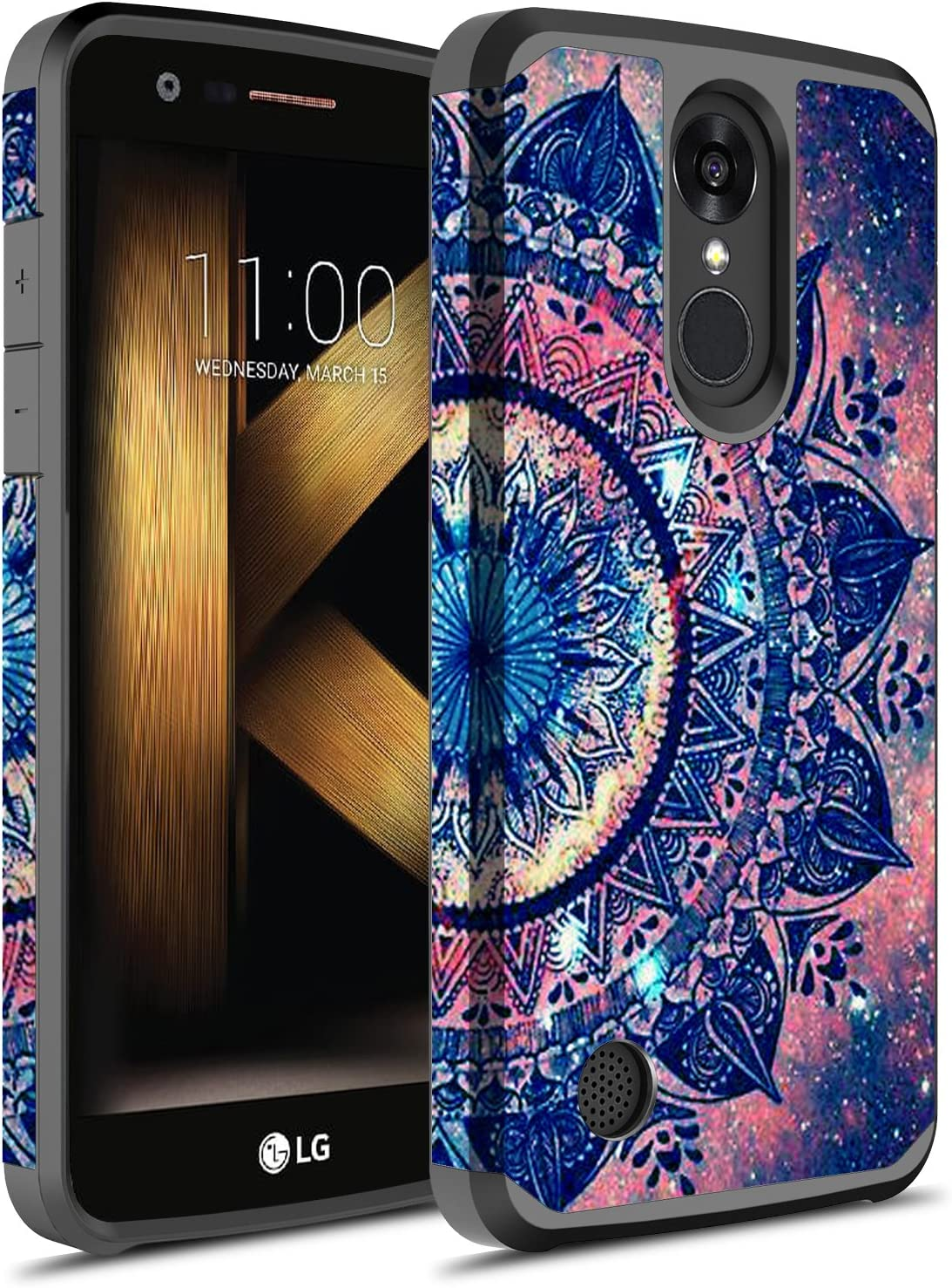 LG K20 V Case, LG K20 Plus Case, LG LV5 Case, Hasting [Drop Protection] Dual Layer Graphic Designed Shockproof Hard Hybird Slim Defender Armor Protector Cover for LG K20 (Mandala)