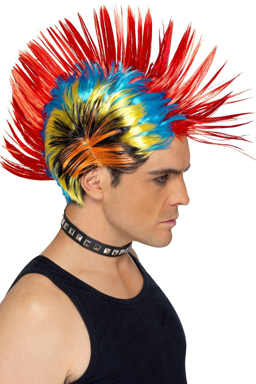 Peluca Punky con cresta multicolor de los años 80: Amazon.es: Juguetes y juegos