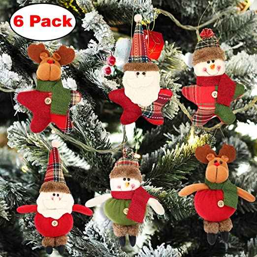Aitey - Adornos para árbol de Navidad, juguetes de peluche, decoración de Navidad, Papá Noel, muñeco de