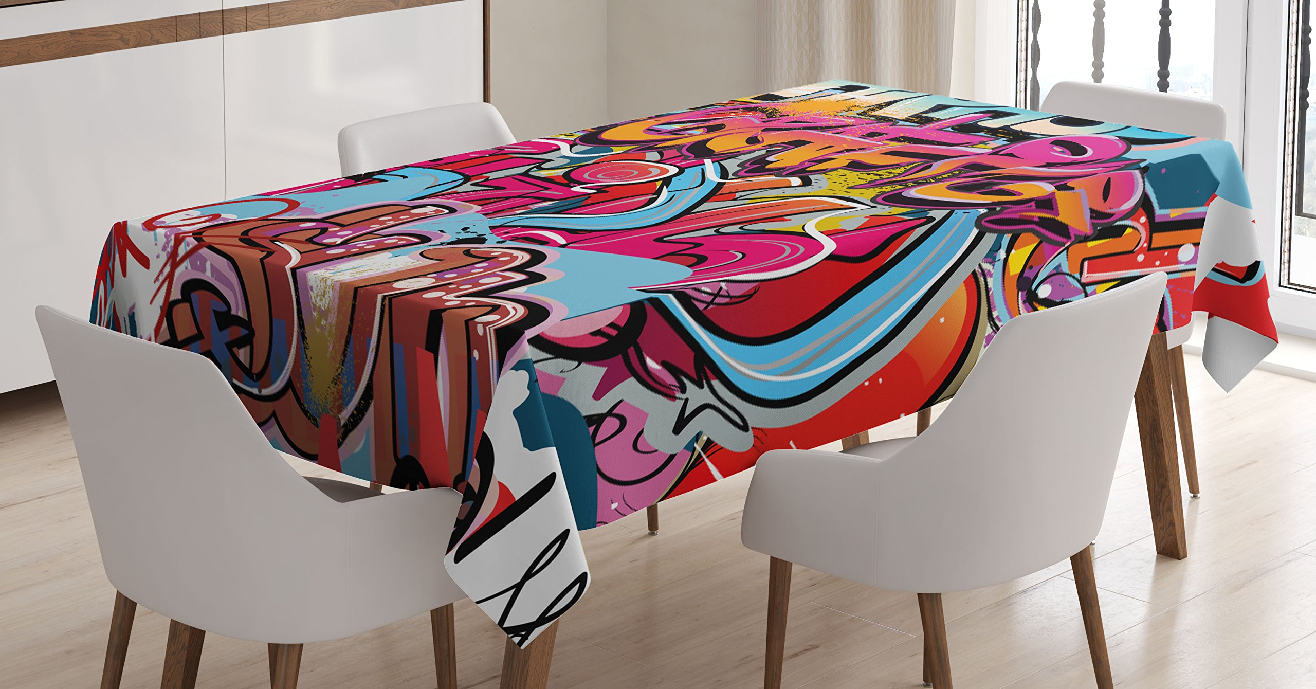 Ambesonne Graphic Decor Tablecloth, Hip Hop Street Culture Harlem New York Wall Graffiti Spray Artwork Image, Dining Room Kitchen Rectangular Table Cover, 60 W X 90 L inches, Multicolor