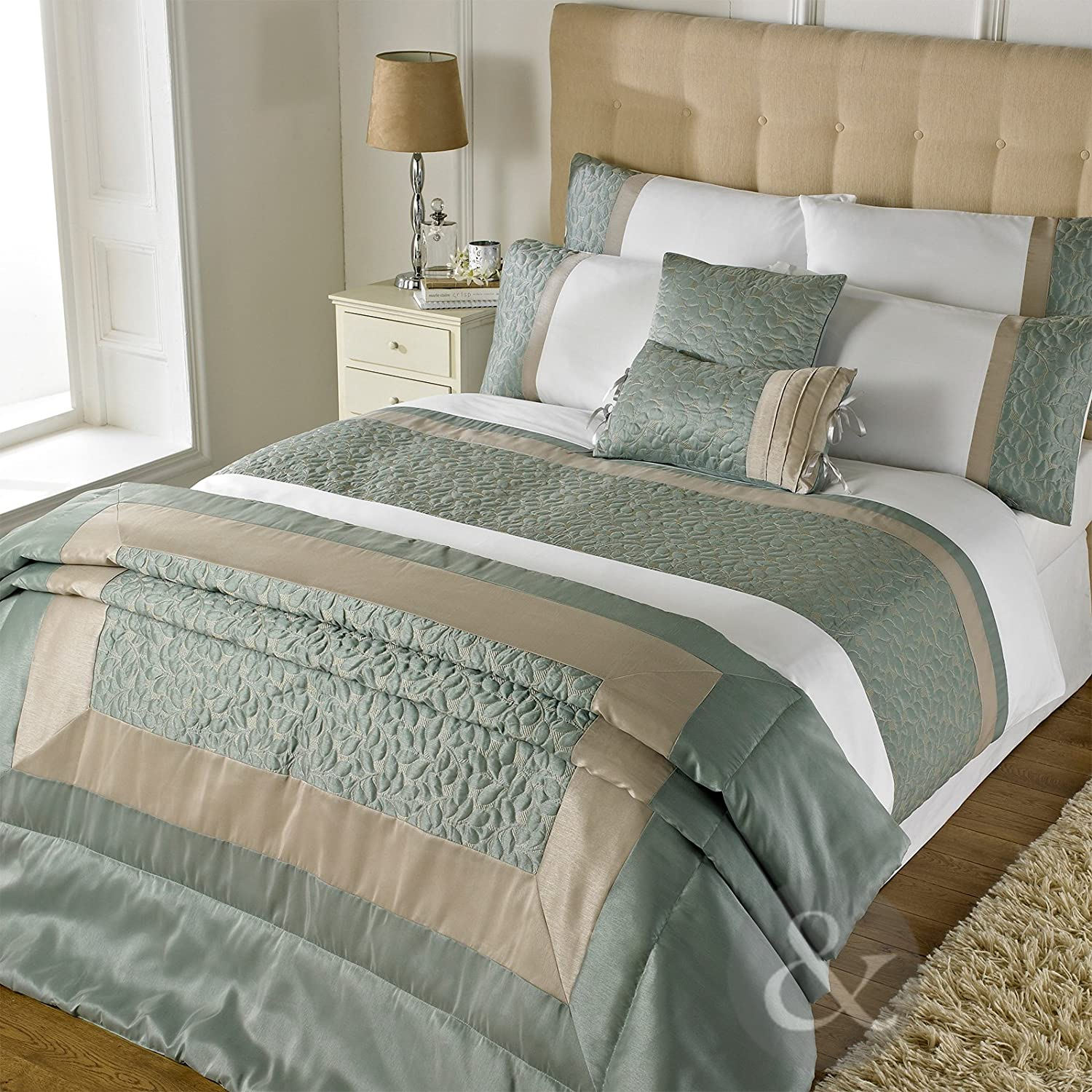 Just Contempo Leaf Embossed Duvet Cover Set Cotton Blend Duck Egg