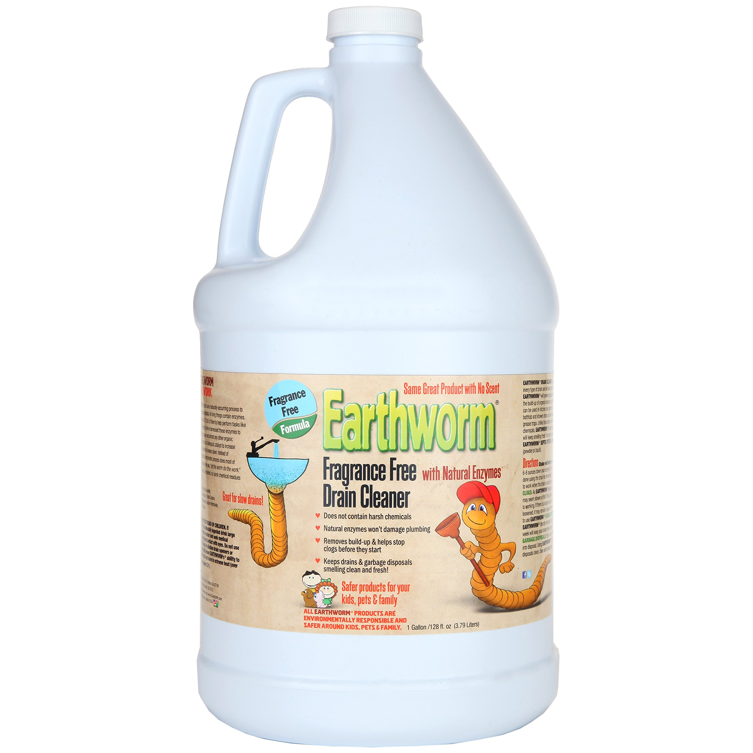 Earthworm Fragrance Free Drain Cleaner - Drain Opener - Natural Enzymes, Environmentally Responsible, Safer for Pets and Kids - 1 Gallon
