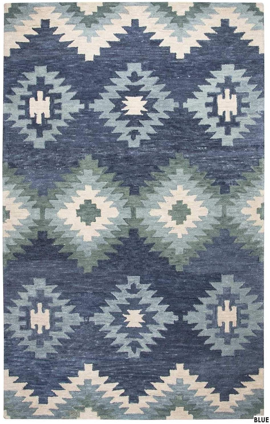 Rizzy Home Napoli Collection Southwestern Motif Rug Blue 8' x 10' Contains Latex Wool, Cotton Geometric 0.25-0.5 inch Stain Resistant, Handmade 8' x