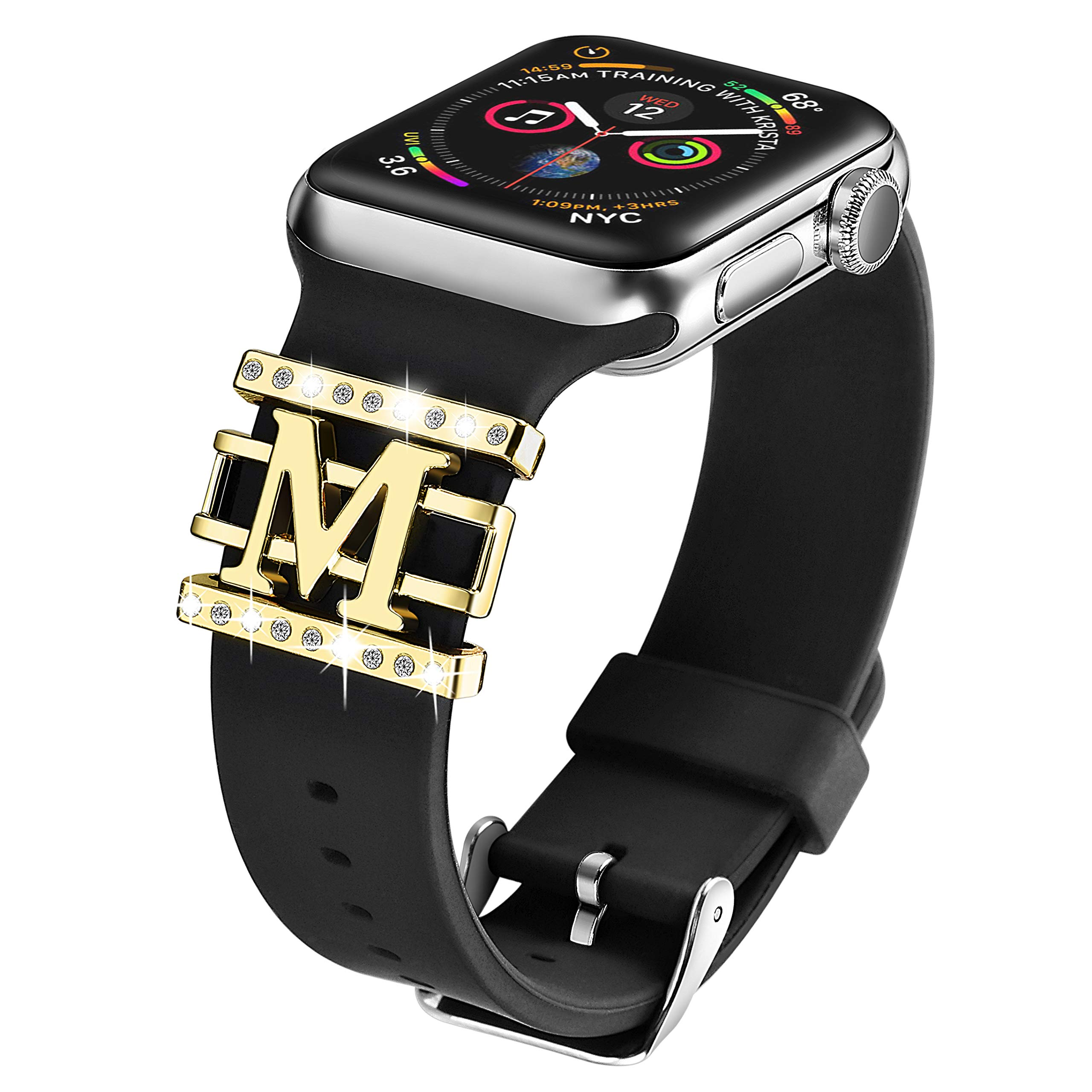 Compatible with Apple Watch Band Silicone 38mm 40mm,DMMG Apple Watch Band Accessories Decorative Rings Designed Pattern Watch Band Women,Replacement Apple Watch Band/iwatch Series 4 3 2 1(Black)