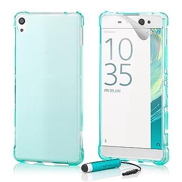 32nd Sony Xperia XA Funda Slim Defender Gel de Silicona Transparente Diseñada, Carcasa Ligera Ultra Fina Defensora - Azul Claro