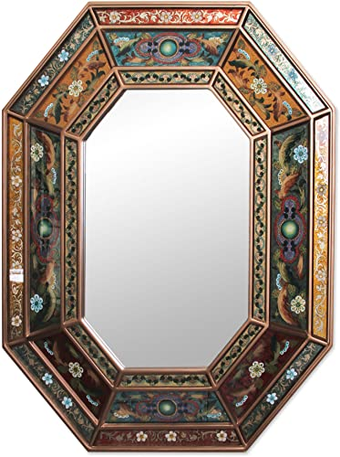 NOVICA Floral Fiesta Reverse Painted Glass Mirror