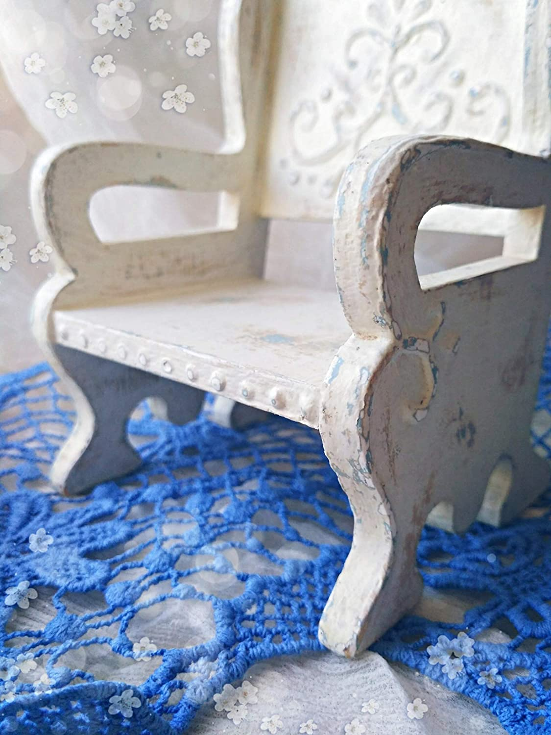 Old Dirty Looking Wooden Doll chair provance photosession teddy for decoration for doll and toy dollhouse furniture vintage