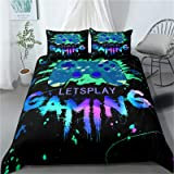 Gaming Bedding Set King Size Gamer Comforter Cover for Boys Girls Kids Teens Video Games Bed Set 3 Piece Gamepad Quilt Cover