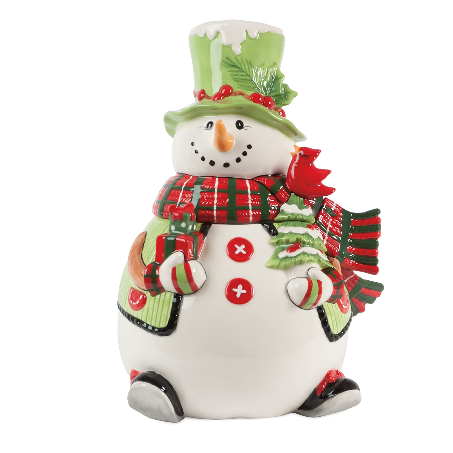 Fitz and Floyd Holly Hat Snowman Cookie Jar