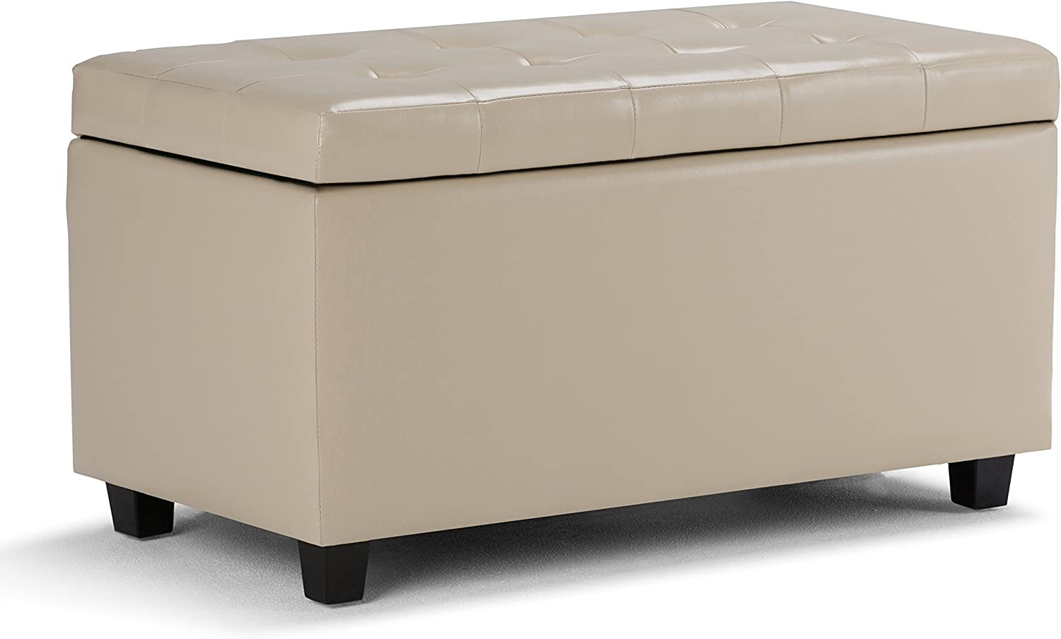 SIMPLIHOME Cosmopolitan 34 inch Wide Rectangle Lift Top Storage Ottoman in Upholstered Satin Upholstered Cream Tufted Faux Leather, Footrest Stool, Coffee Table, Living Room, Bedroom and Kids Room