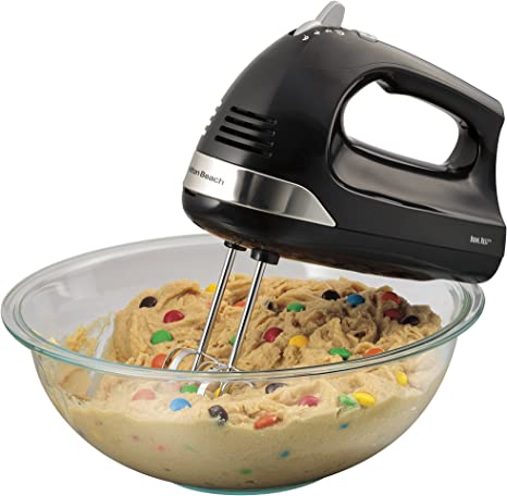 6-Speed Electric Hand Mixer Beaters and Whisk w// Snap-On Storage Case Bowl Rest