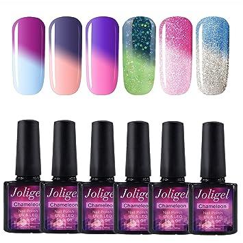 Joligel UV LED Esmalte Uñas Gel Kit, 6pcs Esmaltes Semipermanentes Camaleón Cambio de Color con Temperatura Soak Off 10ML Laca Shellac Manicura ...