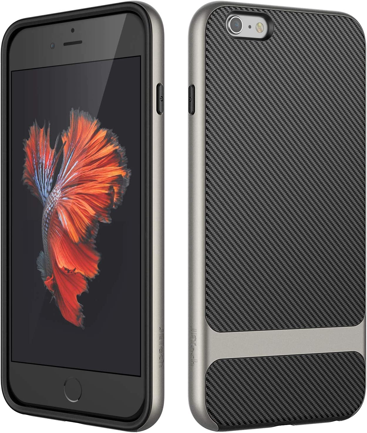 JETech Case for Apple iPhone 6s Plus and iPhone 6 Plus, Slim Protective Cover with Shock-Absorption, Carbon Fiber Design, Grey