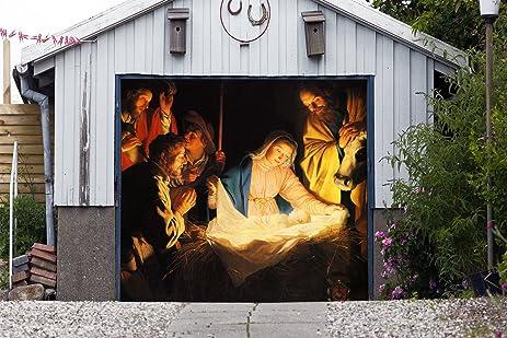 outdoor christmas jesus murals nativity scene garage door banner single garage door covers billboard house garage