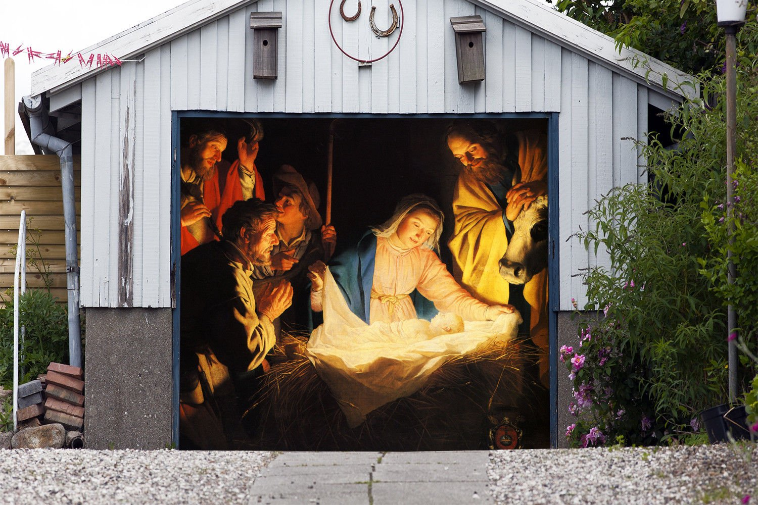Outdoor Christmas Jesus Murals Nativity Scene Garage Door Banner Single Garage Door Covers Billboard House Garage Holy Night Decor Full Color Decor 3D Effect Print Banner Size 83 x 89 inches DAV201