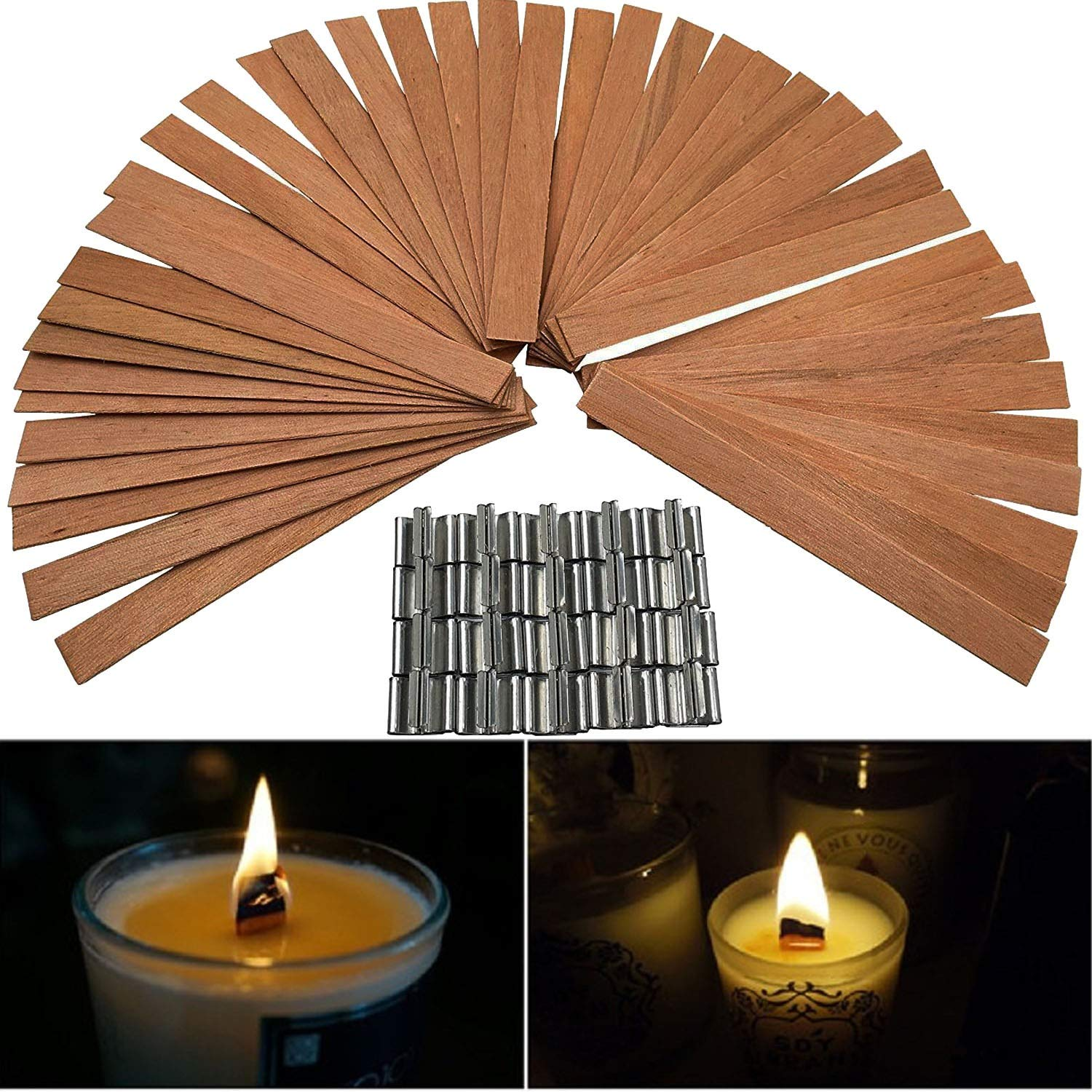 50 PCS 12.5 x 150mm Wood Candle Wicks with Sustainer Tab Supplies Velas Candele Wick for Candle DIY Making for Home Church Deco by Good Home (Image #1)