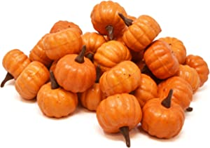 Gift Boutique 36 Count Artificial Realistic Halloween Harvest Mini Orange Pumpkins for Fall Autumn Thanksgiving Party Crafts and Home Décor